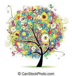 植物, 夏天, 樹, 美麗