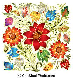 植物, 摘要, 裝飾品, 白色