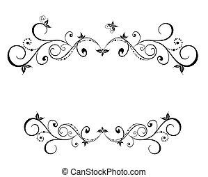 植物, 框架, 黑色, 婚禮