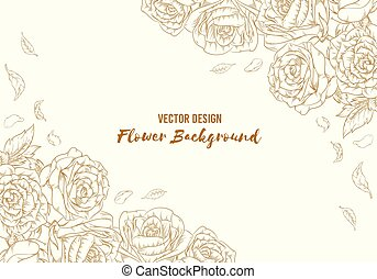 植物, 畫, outline, 手, 背景, 花, 上升, 離開