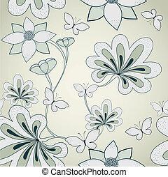 植物, 矢量, pattern., seamless