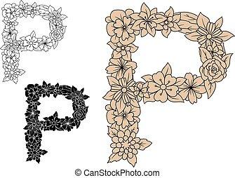 植物, 葡萄酒, 大寫, 字母p