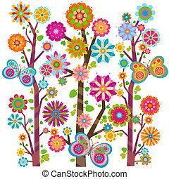 植物, 蝴蝶, 樹