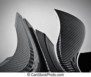 概念性, 摘要, 摩天樓, 事務, 建築學