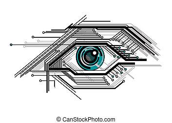 概念性, 被風格化, 技術, 眼睛