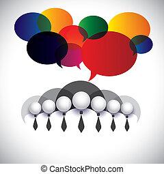 概念, 人們, 成員, 管理, &, 媒介, -, 通訊, 也, 板, vector., 白色, 顯示, 网絡, 公司, 圖表, 會議, 衣領, 相互作用, 雇員, 社會, 公司的執行