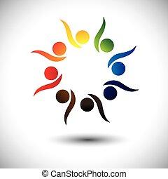 概念, 人們, 活潑, 學習, fun., 孩子, &, 幼儿園, 也, 環繞, 興奮, 跳舞, 鮮艷, 玩, 圖表, 代表, 學校孩子, 人們, 雇員, 或者, 矢量, 有