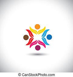 概念, 人們, 配合, 一起, 孩子, -, 隊, 也, 環繞, 友誼, eco, 圖象, 統一, 圖表, 團結, 朋友, 代表, 孩子, 這, 玩, 矢量, 樂趣, icon., 有