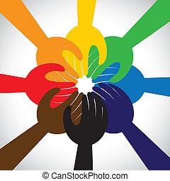 概念, 人們, 配合, 誓約, 諾言, 組, -, 也, 環繞, 統一, 手, 團結, 代表, 誓言, 圖表, 這, 拿, 承諾, 矢量, icon., 友誼, 或者