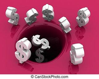 概念, 保留, 美元, 秋天, 洞, 投資
