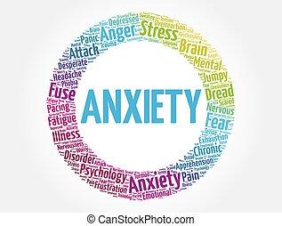 概念, 健康, 雲, 憂慮, 詞, 背景, 拼貼藝術