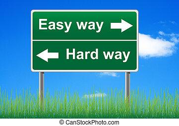 概念, 努力, 天空, 簽署, 背景。, way., 容易, 方式, 路