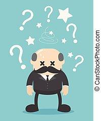 概念, 問題, 混淆, 馬克, 背景, 商人, 老板, glabrous