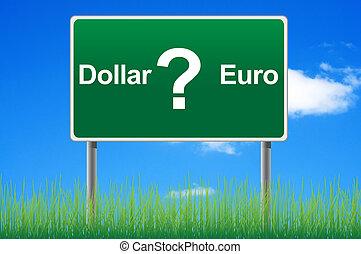 概念, 天空, 美元徵候, 背景。, 歐元, 或者, 路