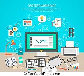 概念, 工作區, 設計師