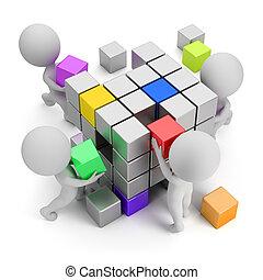 概念, 建立, 人們, -, 小, 3d
