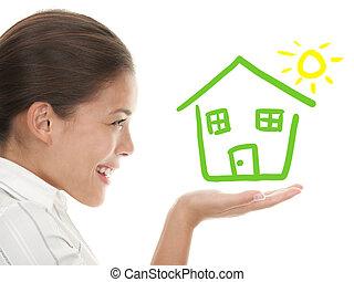 概念, 房子, 想法, 所有者, beeing, 愉快