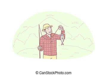概念, 抓住, 漁夫, 釣魚, hooby