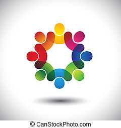 概念, 摘要, 經理人, 孩子, 人員, 站立, 圖象, 工人, circle., 也, 鮮艷, 圖表, 會議, 討論, 代表, 學校孩子, 這, 雇員協會, 等等, 矢量, 或者