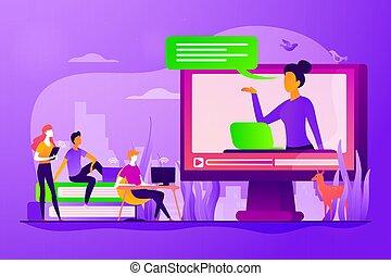 概念, 教學, 矢量, 插圖, 在網上