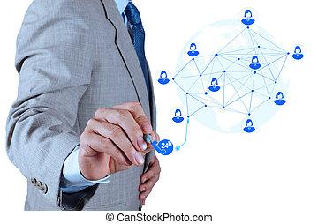 概念, 服務, 工作, 給予, 現代, 電腦, 商人, 新, 結构, 网絡