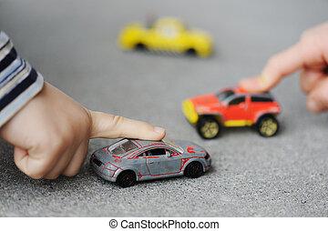 概念, 汽車, -, 童年, 玩具, 無罪, 玩