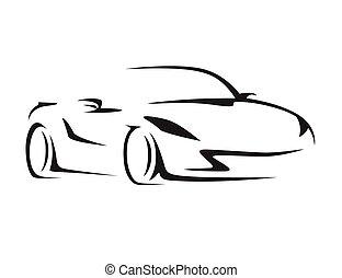 概念, 汽車, silhouette., supercar, 車輛, 運動