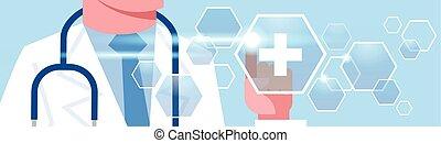 概念, 監控, 醫生, 醫學, 數字, 壓, 治療, 聯机藥, 水平, 旗幟, 按鈕