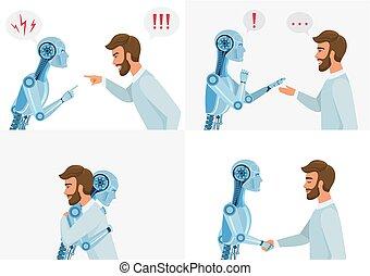 概念, 相互作用, illustration., 事務, 智力, concept., 現代, communication., 機器人, robot., 矢量, 人類, artific, 技術