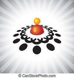 概念, 相象, &, graphic-, 雇員, icons(symbols)., 領導, 插圖, 等等, manager(leader), 矢量, 概念, 配合, 工人, 組, 會議, 顯示