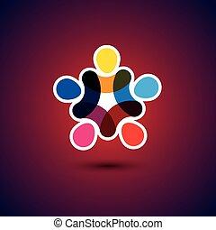 概念, &, -, 社區, 統一, 矢量, gra, 友誼, 團結