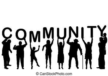 概念, 社區, 黑色半面畫像, 人們