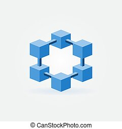 概念, 符號, blockchain, 矢量, 技術, 或者, 圖象