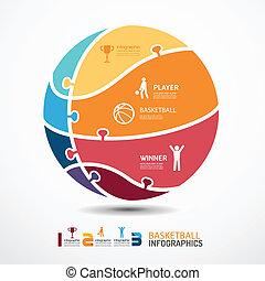 概念, 籃球, 豎鋸, 插圖, infographic, 矢量, 樣板, 旗幟