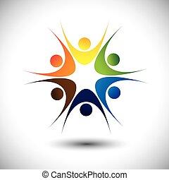概念, 組, 人們, 社區, 活潑, 關閉, 愉快
