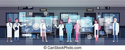 概念, 組, 監控, 工作, 醫學, 現代, 數字, 醫生, 醫學, 使用, 技術, 醫院