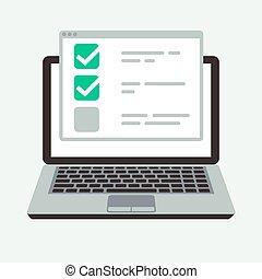 概念, 考試, 成功, display., 清單, 膝上型, 測試, 測驗, 矢量, 在網上