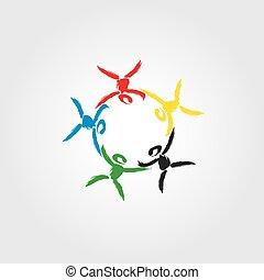 概念, 聯合, 社區, 標識語, 團結, 孩子, 合伙人