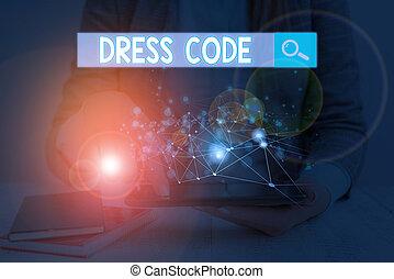 概念, 衣服, 正文, 接受, 場合, group., code., 穿著, 寫, 或者, 方式, 特殊, 事務, 詞