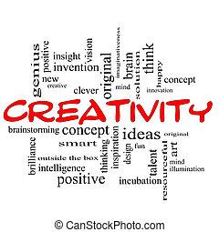 概念, 詞, 創造性, 黑色的雲, 紅色