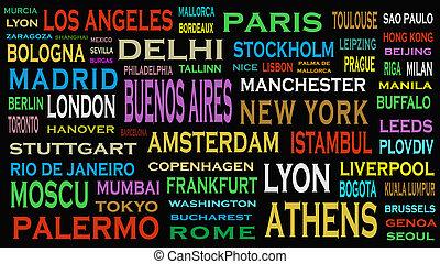概念, 詞, 旅行, 雲, 城市, 世界, 目的地