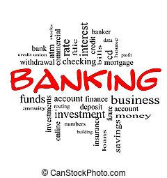 概念, 詞, &, 銀行業務, 黑色紅, 雲