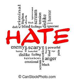 概念, 詞, 黑色的雲, 憎恨, 紅色