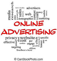 概念, 詞, &, 黑色, 做廣告, 在網上, 雲, 紅色