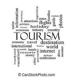 概念, 詞, 黑色, 白色, 旅遊業, 雲