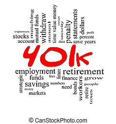 概念, 詞, &, 401k, 黑色紅, 雲
