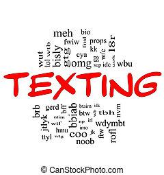 概念, 詞, &, texting, 黑色紅, 雲