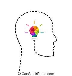 概念, 認為, 創造性, 頭