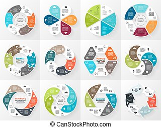 概念, 部分, 摘要, processes., 圖表, 背景。, 樣板, 6, 環繞, 表達, 事務, 選擇, 週期, 圖形, infographic., 箭, 均等, 輪, chart., 矢量, 步驟, 或者