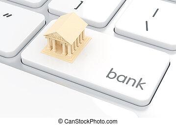 概念, 電腦, 電子銀行, keyboard., 白色, 銀行, 圖象
